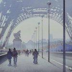 Картина-La Tour Eiffel et le cycliste