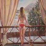 Девушка в красном купальнике, 40х50, 2018