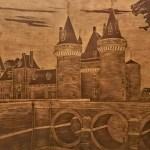 Мост в замок Франция, граттаж по коже 40 на 60см., 2017г.-Сергей Ильчук