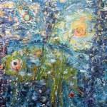 Лето.Водный мир, картон,, масло, муранское стекло собственного плавления, природный материал, 50х60, Марго Пугаченко, (г. Львов)