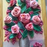 2 место - Барбарис и розы, смешанная.техника, масло, декупаж 20х30, 2014 г. Анна Павлова