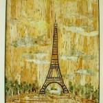 После дождя. Эйфелева башня, техника - ошибана, 41,5х30,5-Татьяна Дубровина