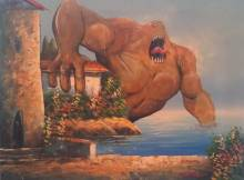 adding monsters to thrift store landscape paintings chris mcmahon 4 Painters Digest