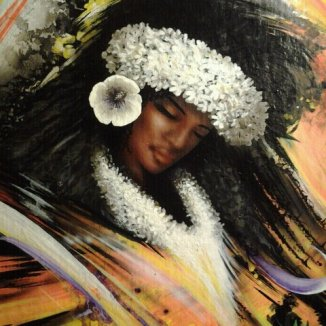 """""""Tahitian Dancer 3"""" Airbrush/Watercolor/Colored pencil 10"""" x 14"""" Gesso wood Art by: Anh Pham Art supplies by: usartsupply.com"""