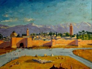 Winston-Churchill_The-Tower-of-Katoubia-Mosque_1943.