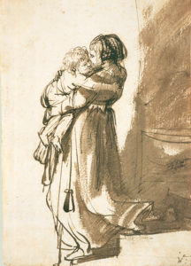 rembrandt_woman-with-child-descending-staircase