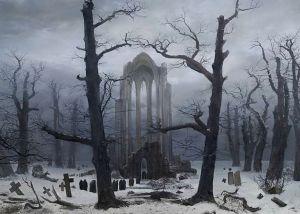 caspar-david-friedrich_monastery graveyard in the snow-1817-19