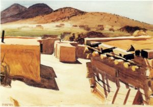 Adobe Houses, 1925 watercolor on paper 3 1/2 x 19 1/2 inches by Edward Hopper