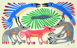 Six-Part Harmony, 2012 Stonecut and stencil Printer: Qavaulau Manumle 62 x 99.5 cm by Kenojuak Ashevak
