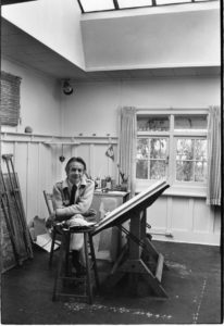 Fen Lansdowne in his Victoria, BC studio, 1981 Whitney photo