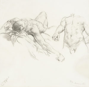 Study of Male Nudes charcoal on paper 16 x 16 inches by Sir William Orpen