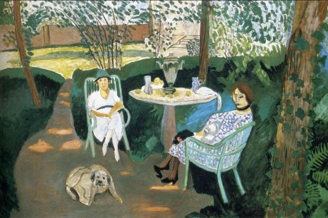 Matisse, Tea in the Garden, 1919, 55-1:8 x 83.5 inches, 140 x 212 cm. Los Angeles County Museum of Art