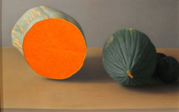 Still life with cut squash and winter mellon