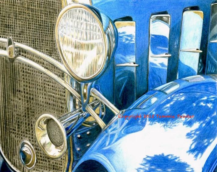 """Blue Car"" 8x10"" Colored Pencil on Bristol"