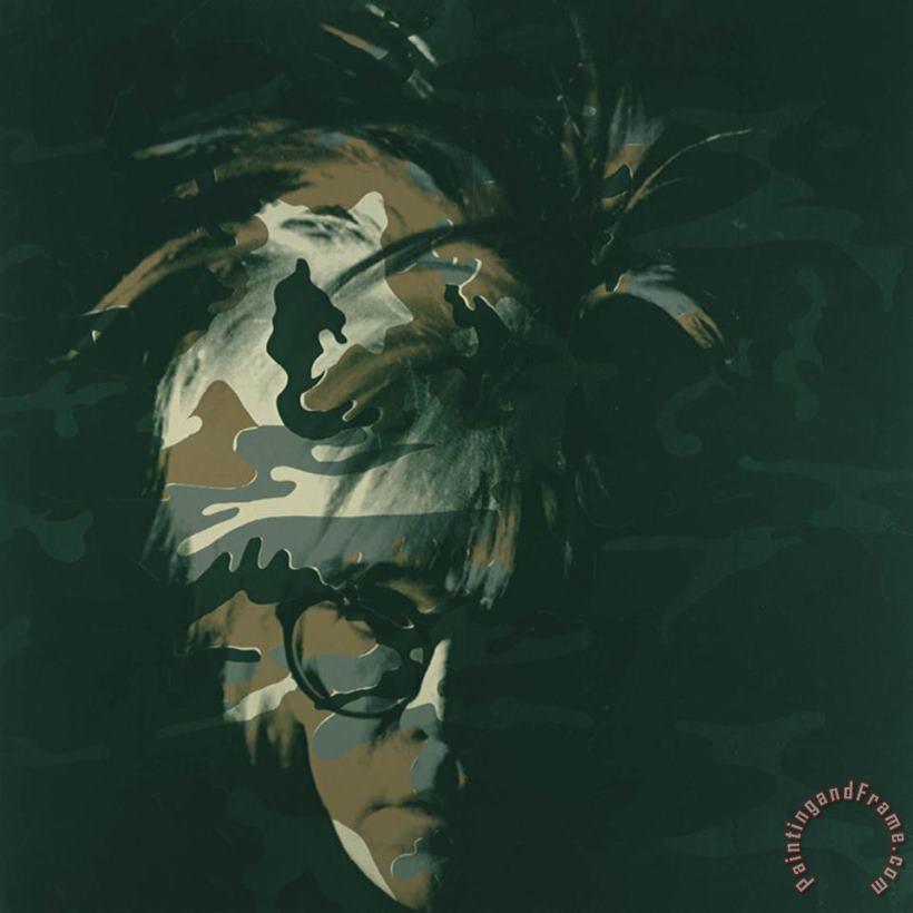 Andy Warhol Self Portrait 1986 Brown Camo Painting Self Portrait 1986 Brown Camo Print For Sale