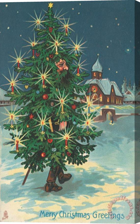 English School Christmas Card Stretched Canvas Painting