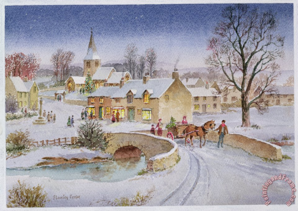 Stanley Cooke Christmas Eve In The Village Painting