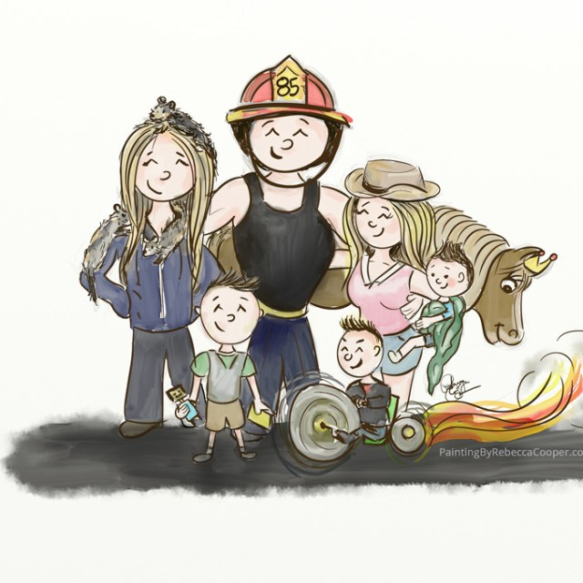 Cowgirl Meets Fireman Family Portrait