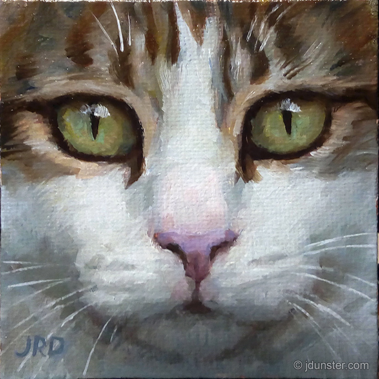 Cat painting by J Dunster