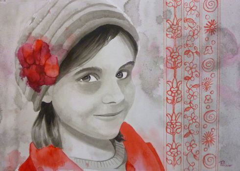Free portrait painting techniques : India ink, watercolor ...