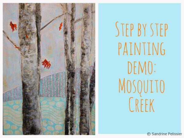 Step by step mixed media painting tutorial with acrylic, ink, gouache and pastels : Mosquito Creek
