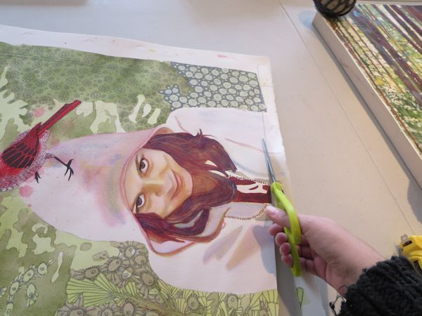 cutting the watercolor painting to the right size