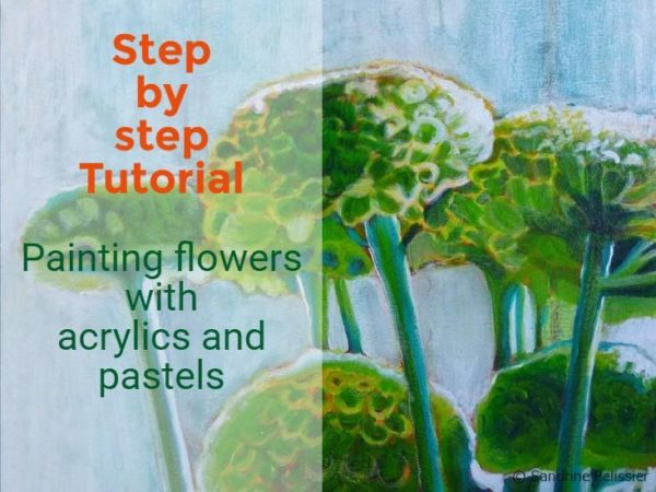 Green Mums, acrylic and mixed media flower painting tutorial