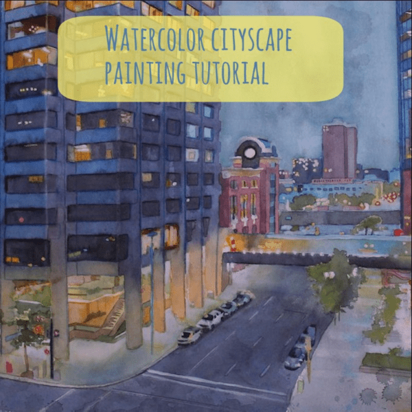 painting a cityscape with watercolor step by step tutorial on ARTiful painting demos by Sandrine Pelissier