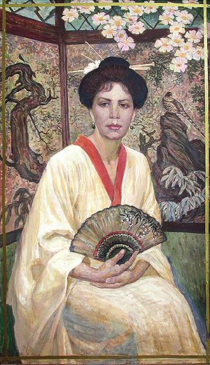 Woman in Oriental Costume portrait or figure - tempera painting