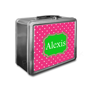 swiss dot personalized classic tin lunch box