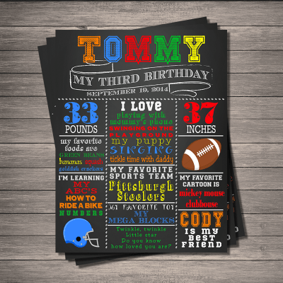 Football Birthday Memory Board