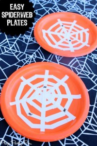 Easy DIY Spiderweb Halloween Plates