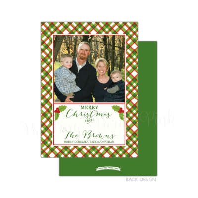 Plaid Holly Holiday Card