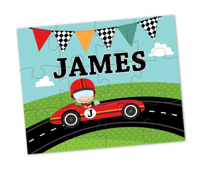 race car personalized puzzle