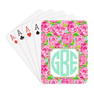 Summer Roses Monogram Playing Cards