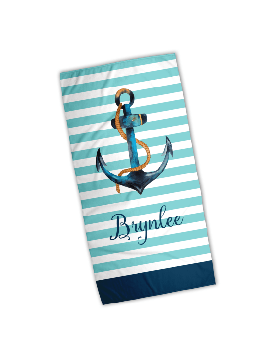 Anchor - Striped Personalized Watercolor Beach Towel