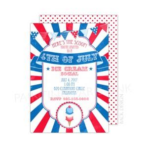 Invitation 4th of July Ice Cream Social