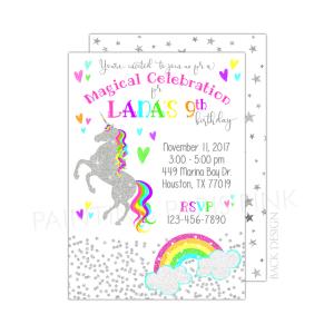 Unicorn Glitter Birthday Invitation