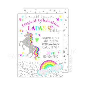 Unicorn Glitter Birthday Invitation