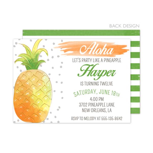 Pineapple Birthday Watercolor Invitation