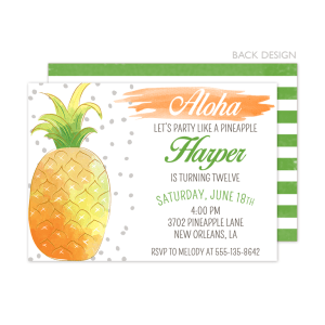 Pineapple Birthday Watercolor Invitation