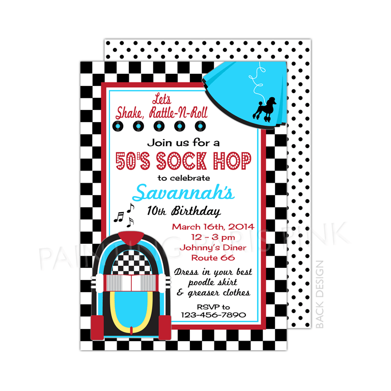 50\'s Sock Hop Birthday Party Invitation |