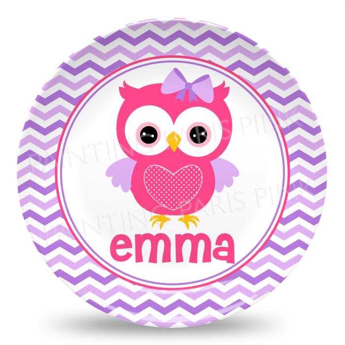 Owl Chevron Melamine Plate