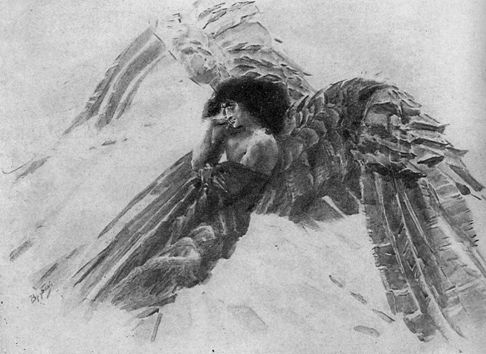 """Врубель, Демон летящий. Иллюстрация к поэме Лермонтова """"Демон"""""""