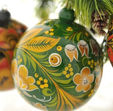 Хохлома, елочный шар