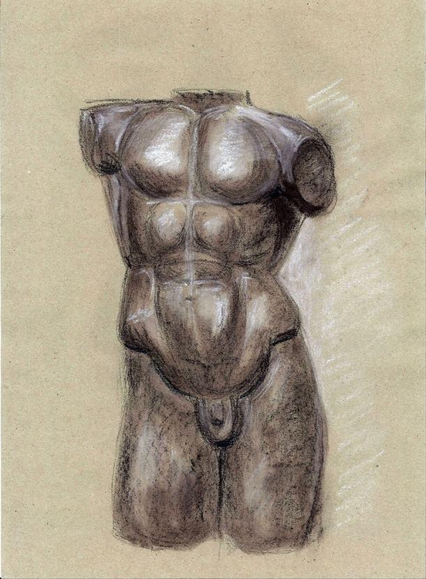 Эскиз, скульптура, сангина