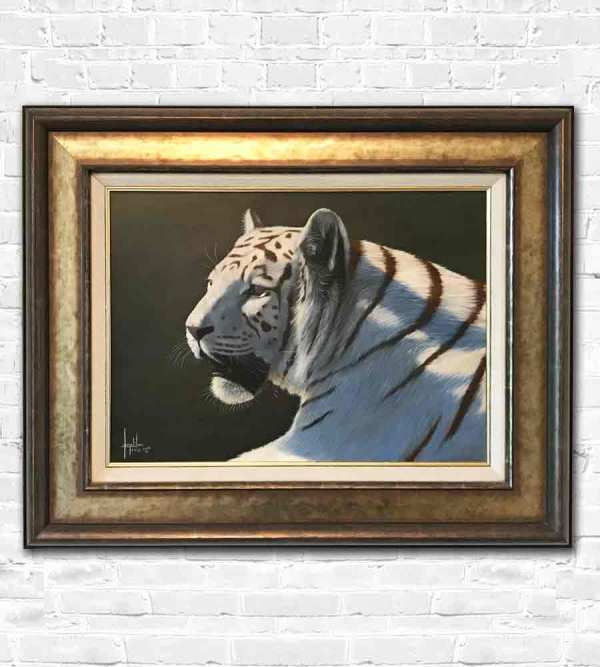 Zena the white tiger. An oil painting by Jonathan Truss