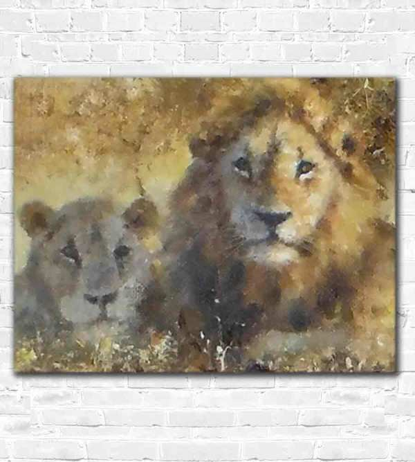 A clearer image of the two lions by David Shepherd