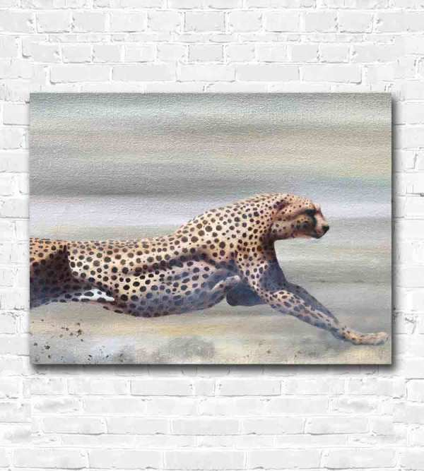 Cheetah running oil painting