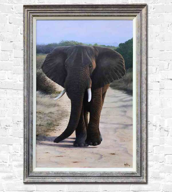A solitary elephant wanders in Africa - Painting by Jonathan Truss